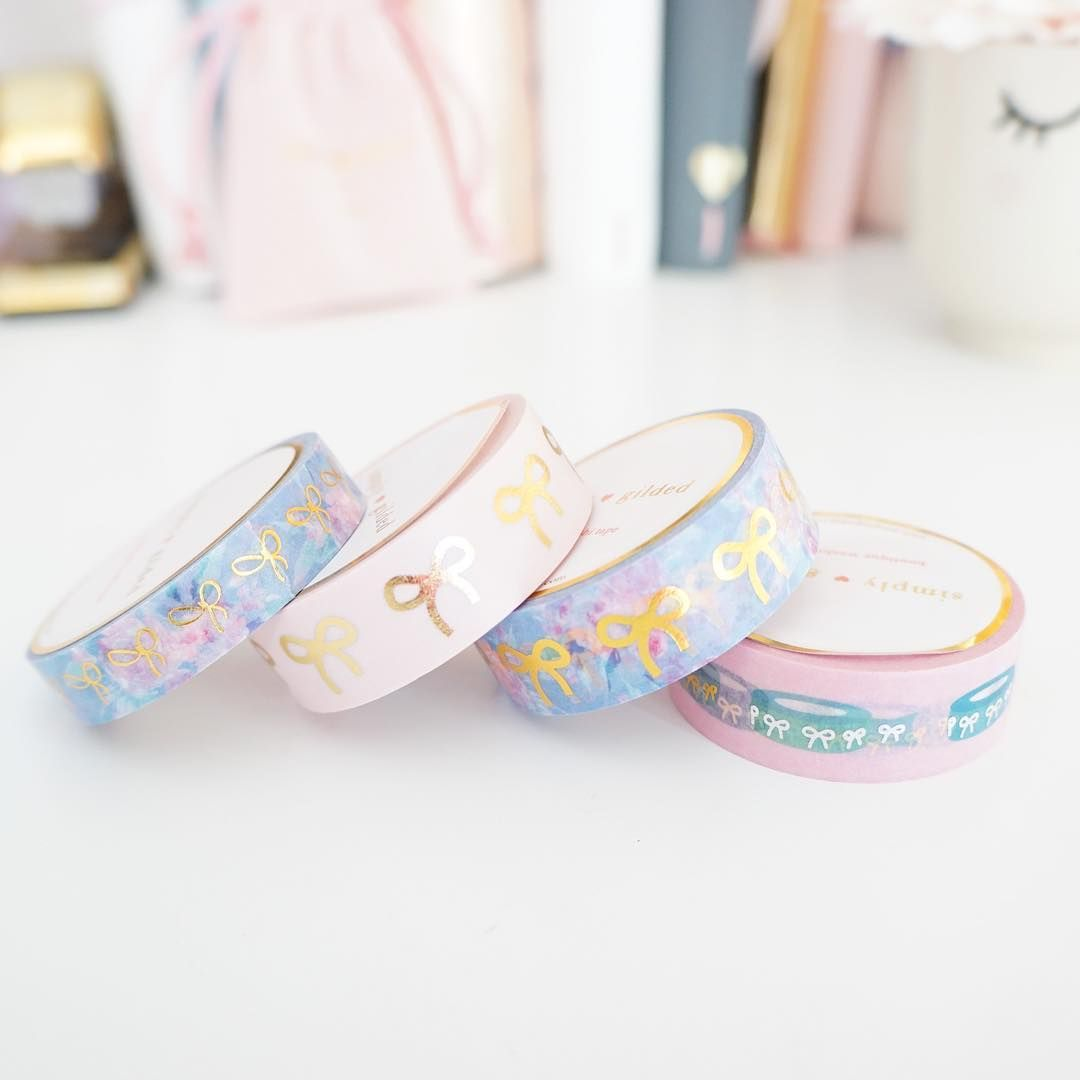 Simply Gilded Pink Plaid Bows Washi Set