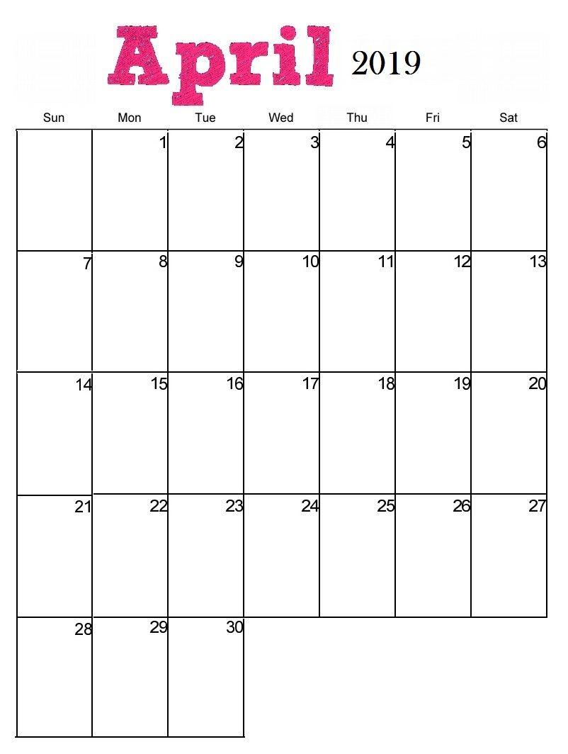 Blank April 2019 Calendar Wallpaper Floral Cute For Desktop