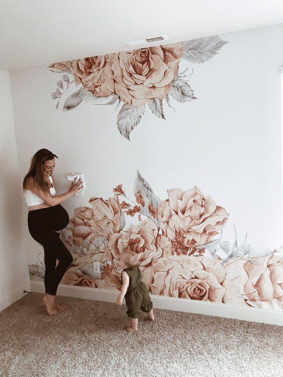 Blooming Rose wallpaper, Repositionable Wallpaper,