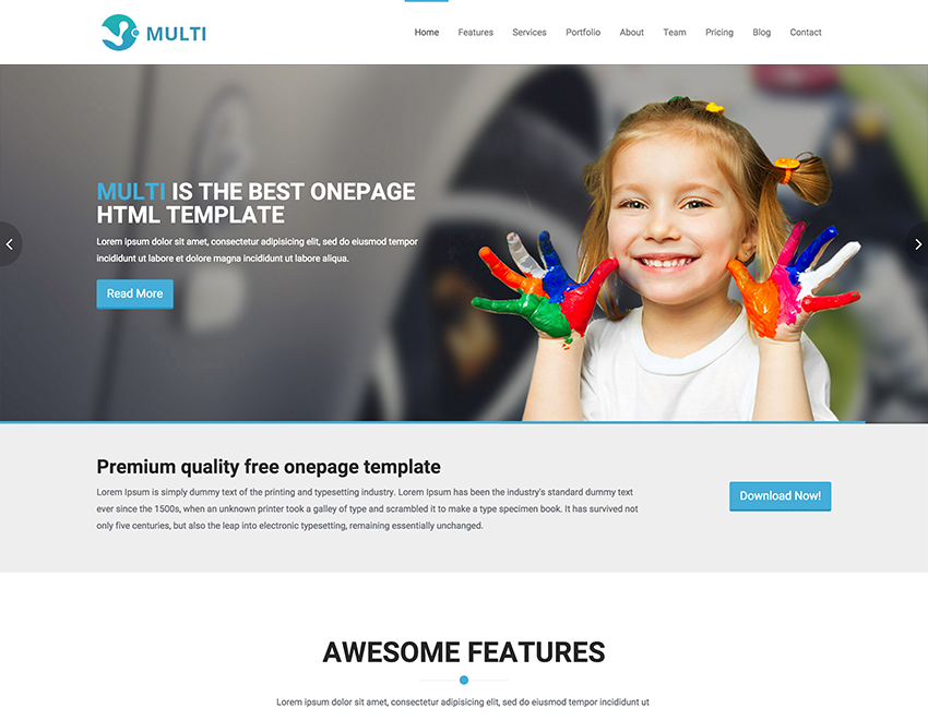 multi free responsive onepage html template