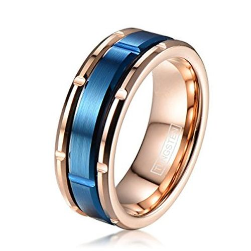 8mm Unisex Or Men S Tungsten Wedding Bands Rose Gold With Outer Blue Brick Desig Mens Wedding Bands Tungsten Tungsten Wedding Bands Mens Wedding Rings Gold