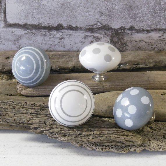 Grey spots stripes ceramic cupboard door knob drawer handle cabinet ...