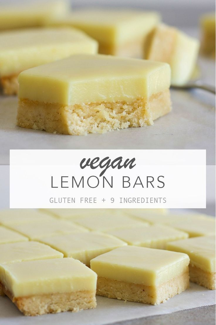 Vegan Lemon Bars Vegan lemon bars with a creamy lemon filling on top of a soft buttery base! They're gluten free, 9 ingredients and quick and easy to make. - Vegan Lemon Bars - Amy Le Creations #vegan #glutenfree