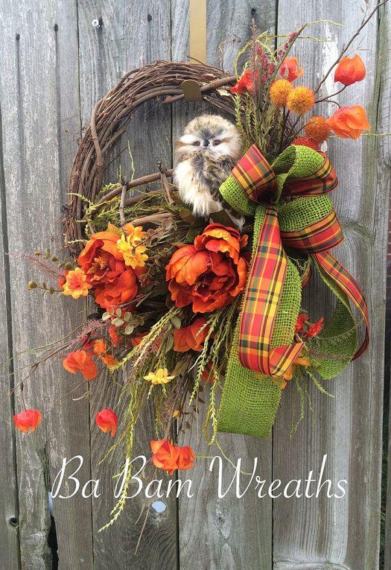 how to make an owl wreath