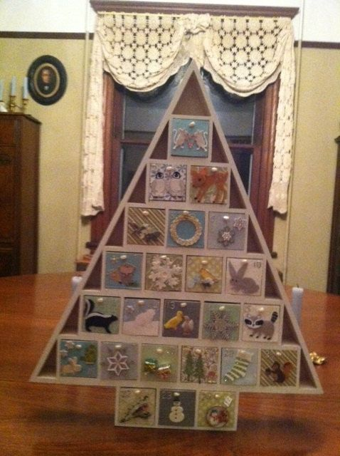 24 Drawer Painted Wooden Advent Calendar With By Merrybellas 125 00