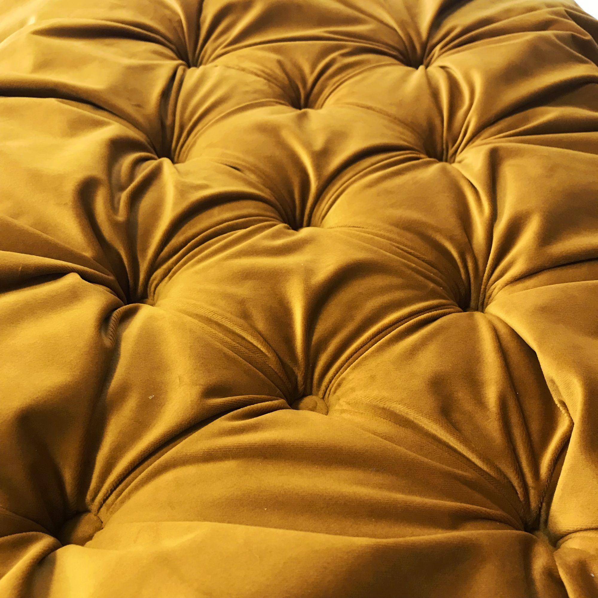 Beautiful Ochre Mustard Turmeric Velvet Fabric With Its