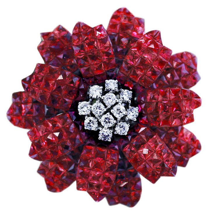 Invisible Set Ruby and Diamond Flower Pin