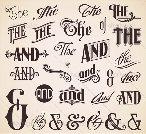 Ornate Hand Letters 'Thes' And 'Ands'
