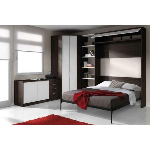 C modo elegante y funcional cama abatible vertical de for Cama funcional