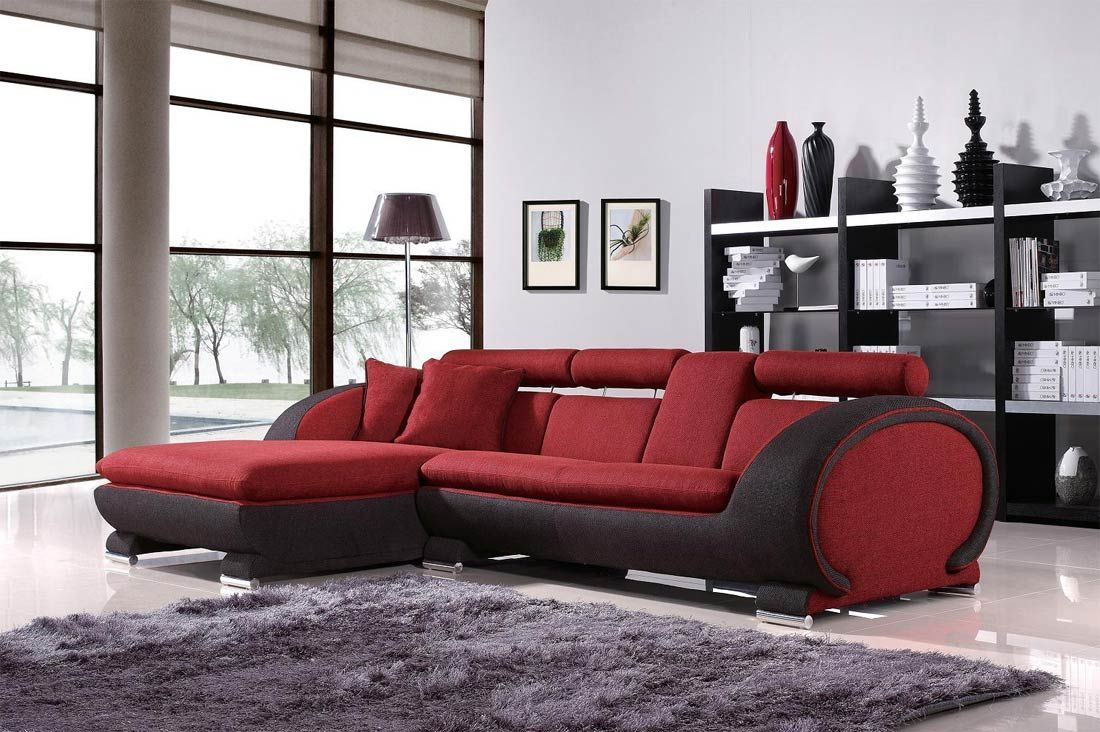 Impressive Fabric Modern Sectional Sofa in Red Mixed Dark Gray ...