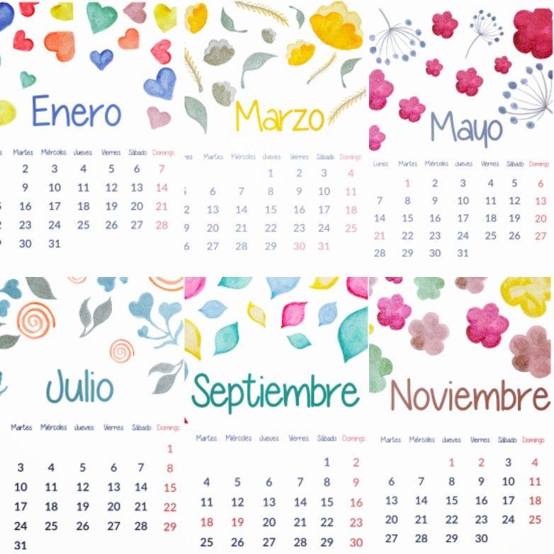 Calendario 2018 con feriados de Chile. Una página por mes