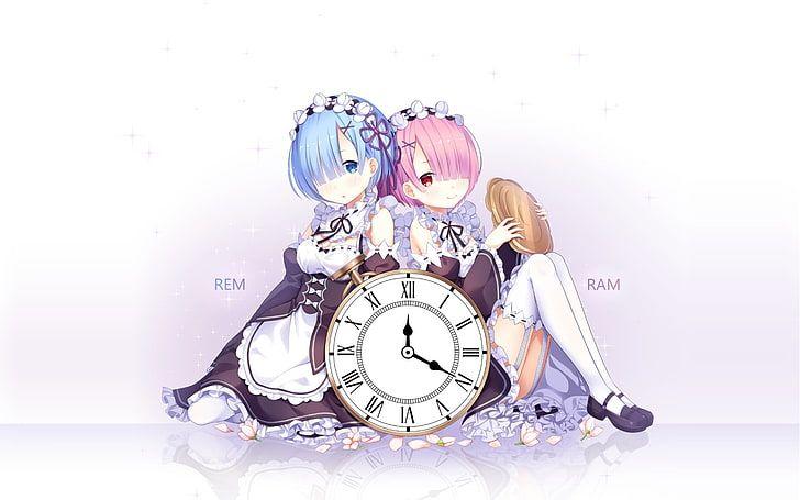 HD wallpaper: blue-and-pink-haired anime characters, Rem, Ram (Re:Zero), Re:Zero Kara Hajimeru Isekai Seikatsu