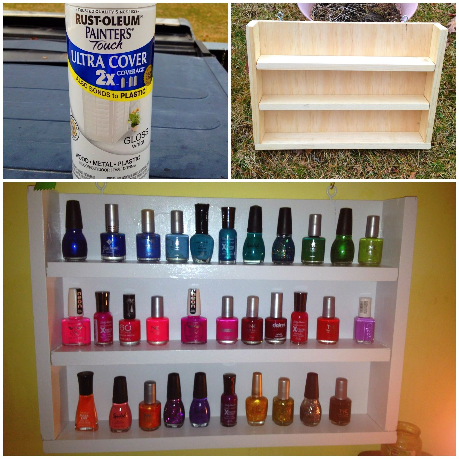 DIY nail polish rack; made with the help of my dad ...