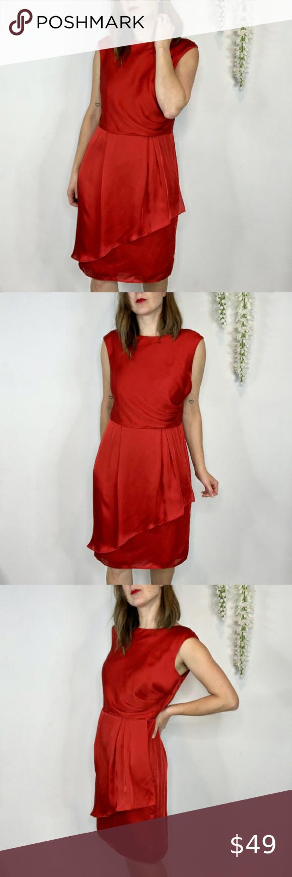 Vince Camuto Satin Red Dress Draped Skirt 1461 Red Satin Dress Lace White Dress Long Sleeve Knit Dress [ 1740 x 580 Pixel ]