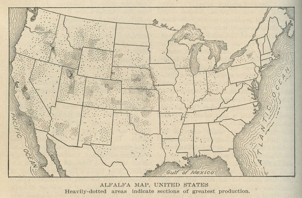 Us Map 1920.Alfalfa Map United States 1920 Mapping Cartography