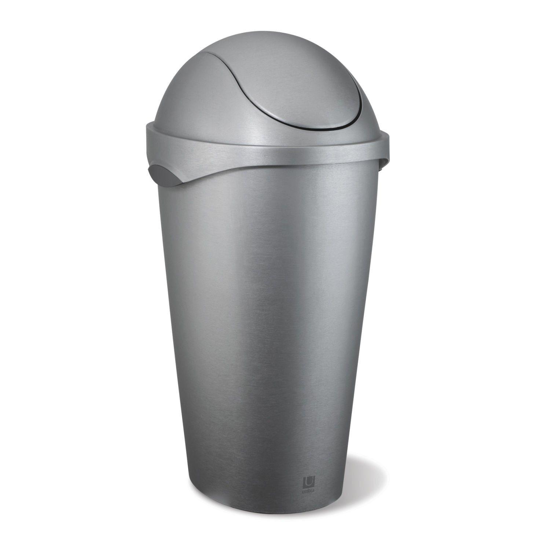 Umbra Grand 10-Gallon Swing-Top Trash Can Black