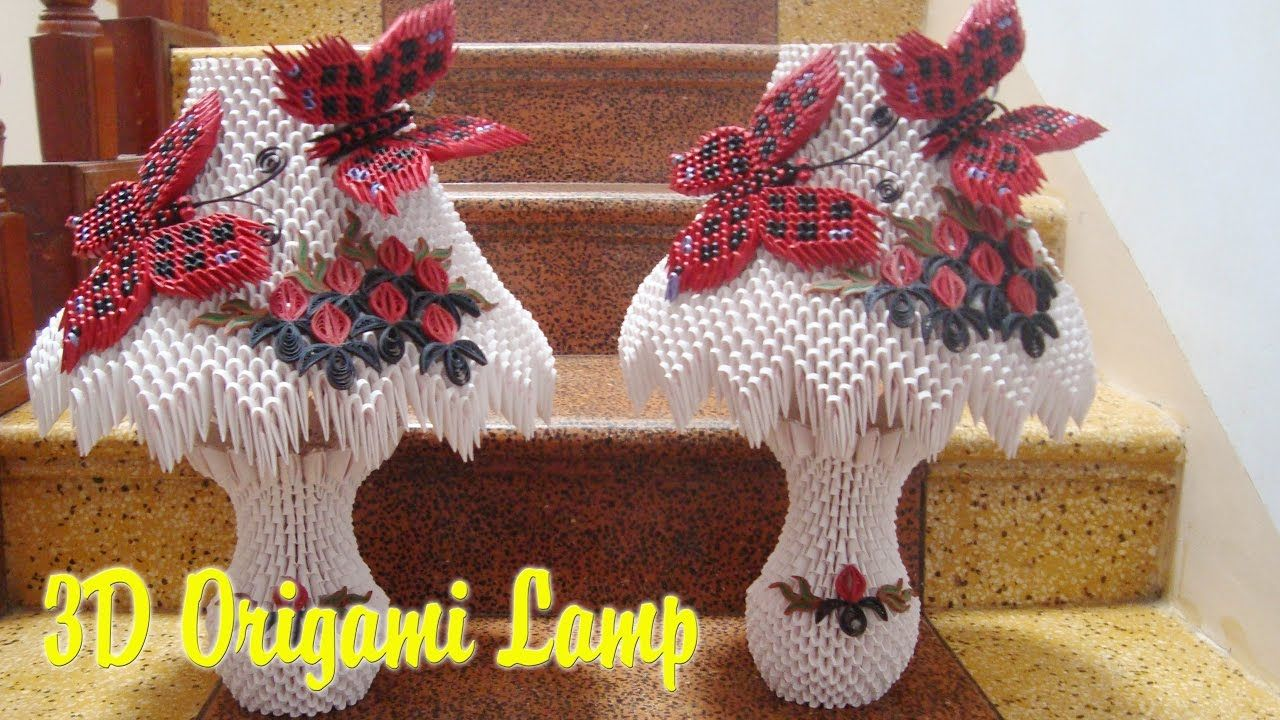 3d Origami Lamp Paper Lamp Handmade Decoration Origami Lamp Easy Origami Flower Origami Flowers Tutorial