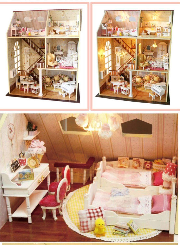 Amazoncom Rylai Wooden Handmade Dollhouse Miniature DIY Kit