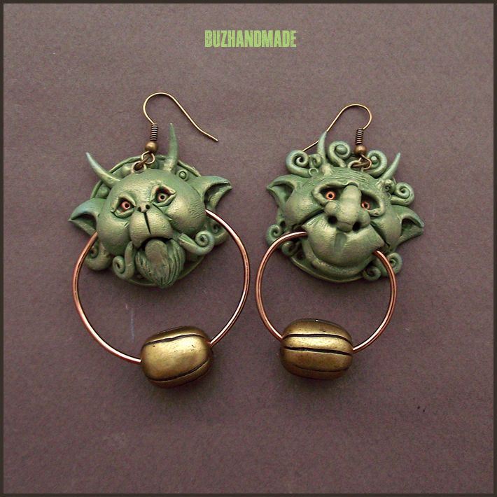 Knocker Earrings Labyrinth Bronze version | Polymer CLAY | BUZHANDMADE