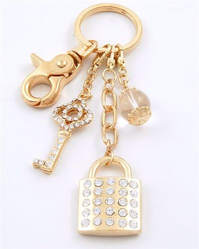 Goldtone Lock And Key Chain Gift For Her Friendship Gift Just Because Keychain Handbag Charms Purse Charms