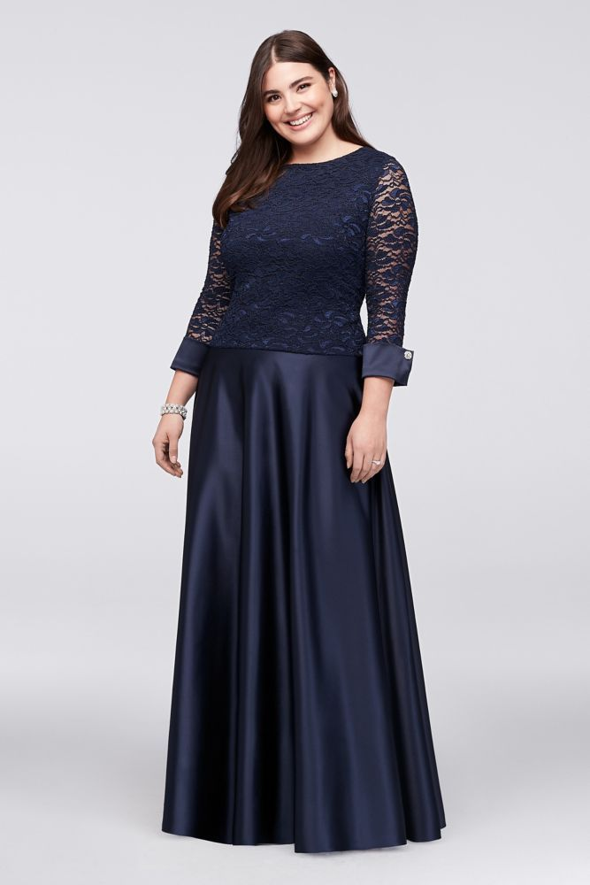 0a7193631e885 Plus Size 3 4-Sleeve Lace Satin Plus-Size Two-Piece Mother of Bride Groom  Dress - Navy (Blue)