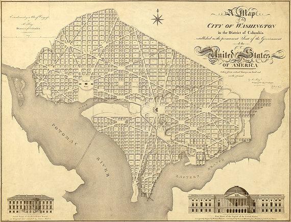 Washington city map (1818), scanned version of old original ...