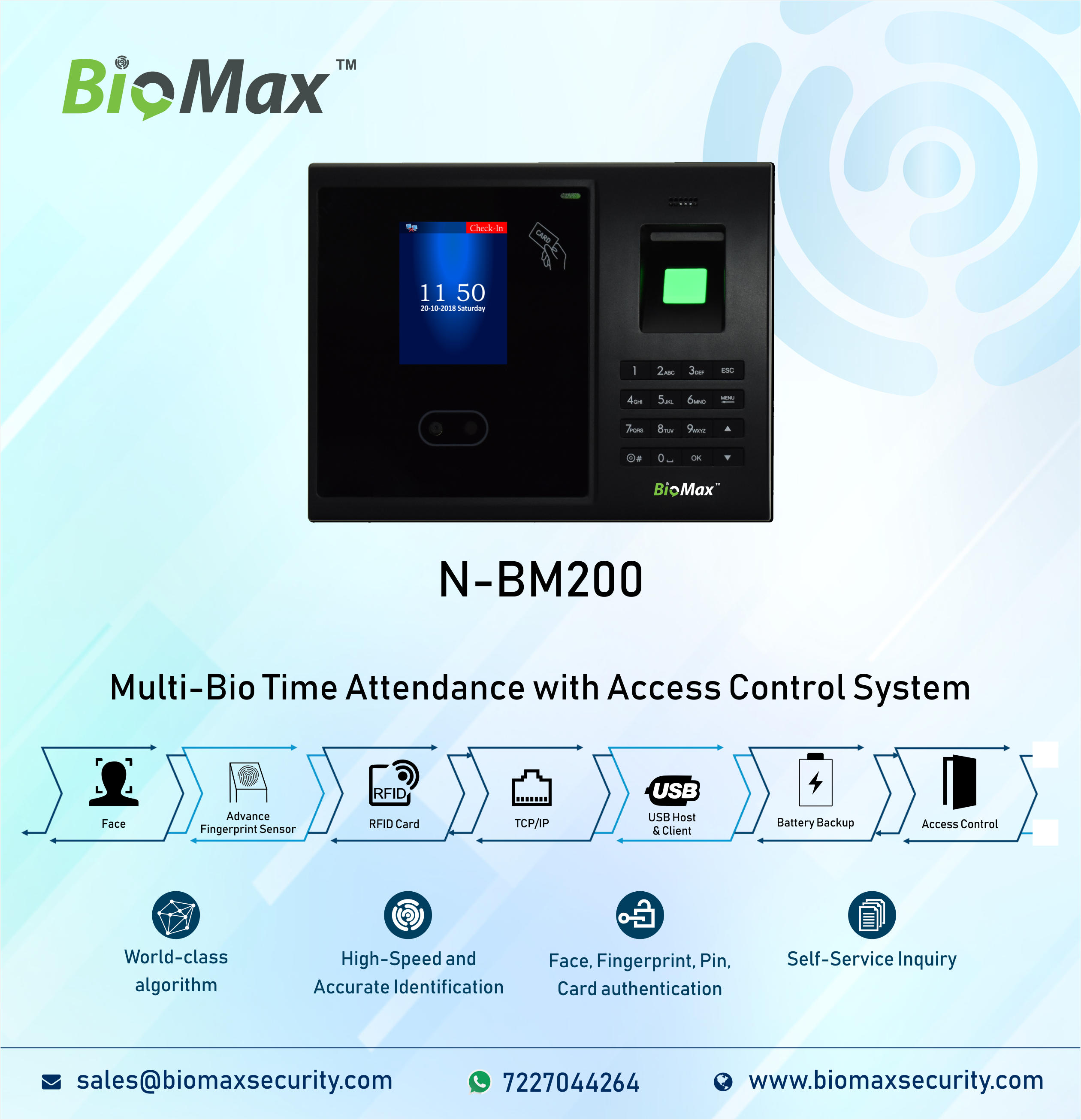 BioMax NBM200 MultiBio Time Attendance with Access