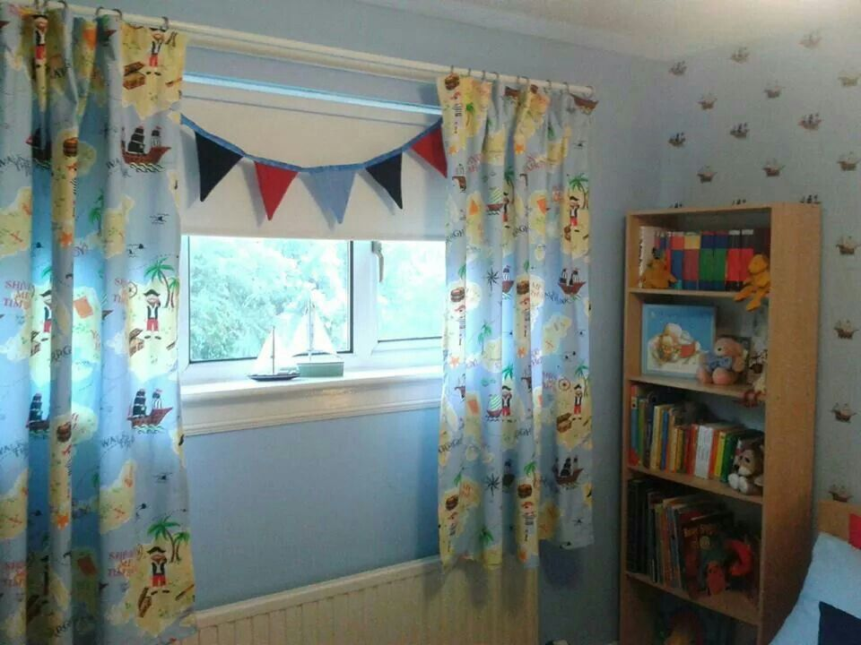 Kids Bedroom Bunting pirate fabric, laura ashley, homemade curtains, homemade bunting