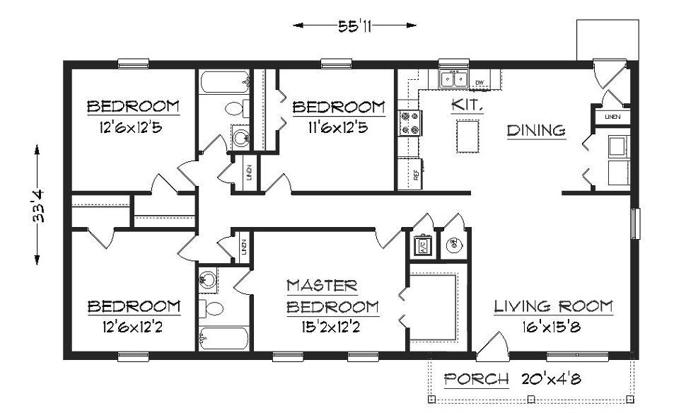 Beautiful Simple Four Bedroom House Plans Design Http Tyuka Info Beautiful Simple Four Small House Blueprints Rectangle House Plans Small House Floor Plans