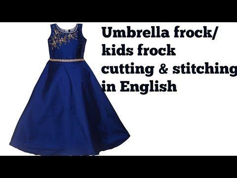 Umbrella Frock Cutting Stitching In English Kids Frock Stitching