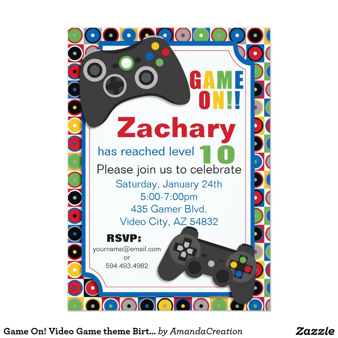 Game on video game theme birthday party invitatio card video game on video game theme birthday party invitatio card stopboris Gallery