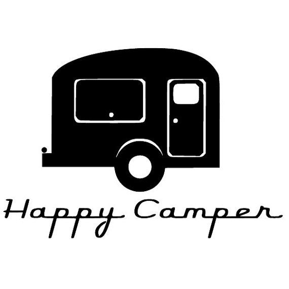 Christmas In July Sale Happy Camper Vinyl Retro Decal Trailer Vintage Design