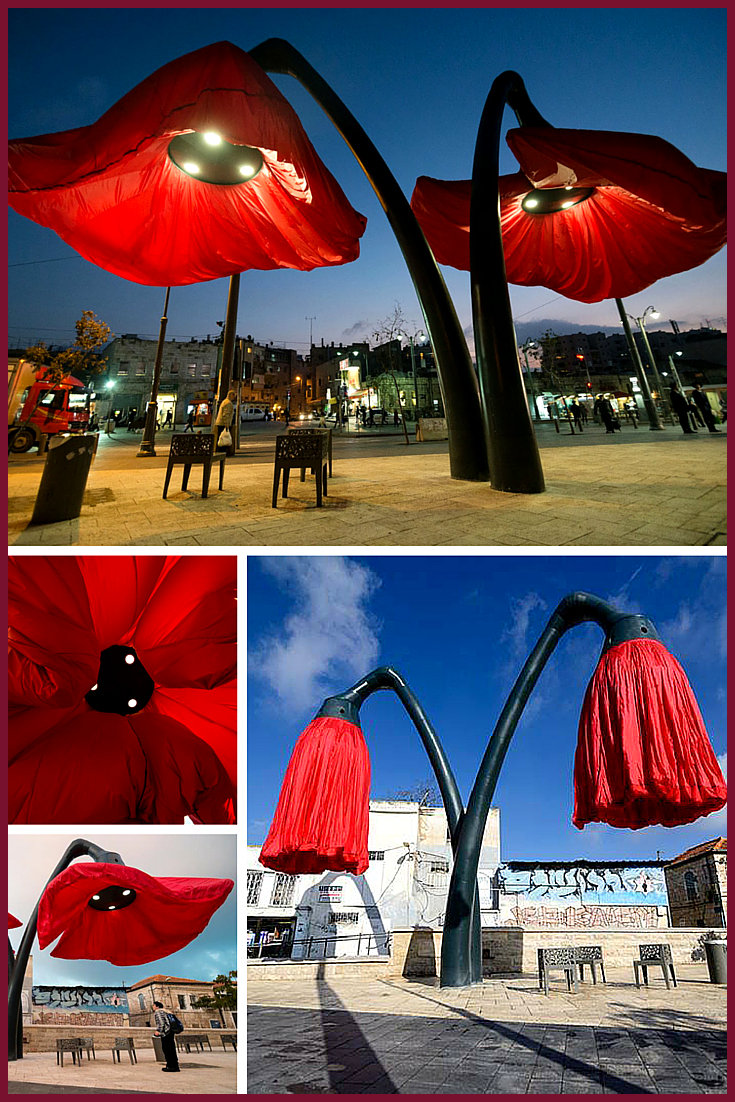 Giant red poppies that blooms when someone walks by designed by HQ Architects for the Jerusalem s Vallero Square The benches underneath are Metalco Giant red poppies that...