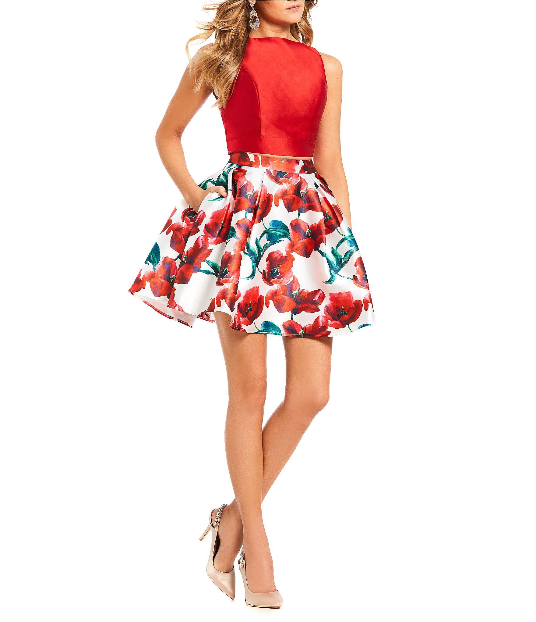d55f3f6510b Shop for Glamour by Terani Couture Solid Top with Floral Print Satin  Two-Piece Dress at Dillards.com. Visit Dillards.com to find clothing