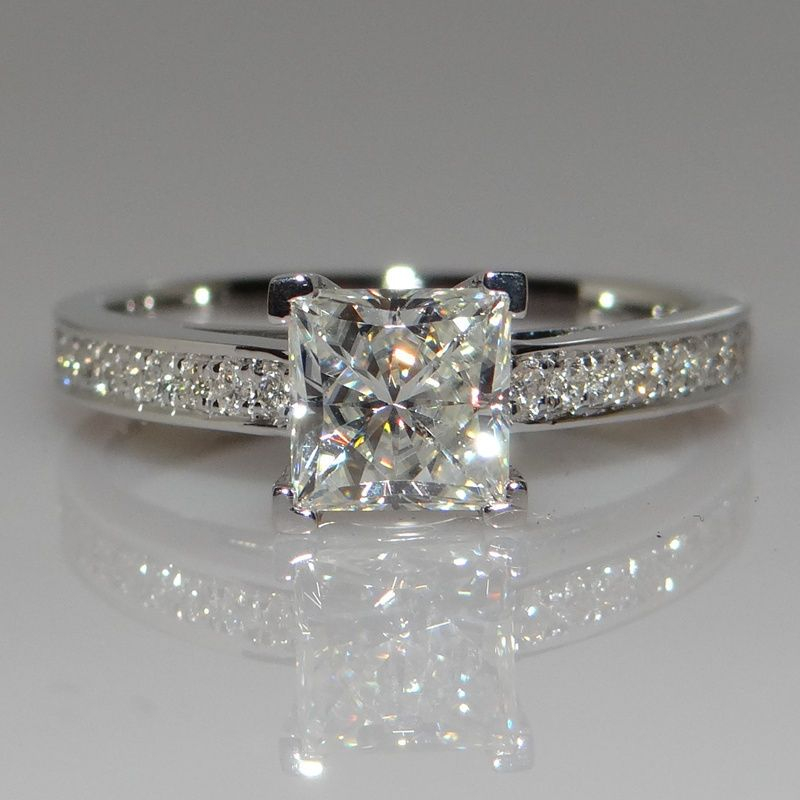 cute victoria wieck handmade princess cut ct diamonique cz stones sterling silver party wedding band rings - Diamonique Wedding Rings