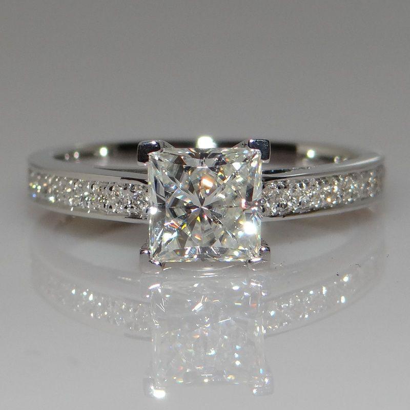 cute victoria wieck handmade princess cut ct diamonique cz stones sterling silver party wedding band rings - Diamonique Wedding Rings