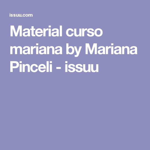 Material curso mariana by Mariana Pinceli - issuu