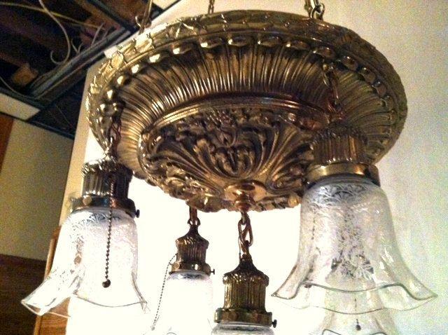 Ornate Very Heavy Authentic Art Nouveau / Victorian Hanging Light ...