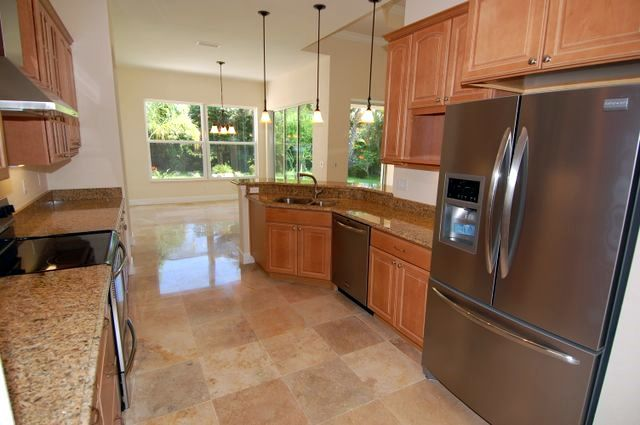 travertine 18x18 tile floor in kitchen | kitchens | pinterest