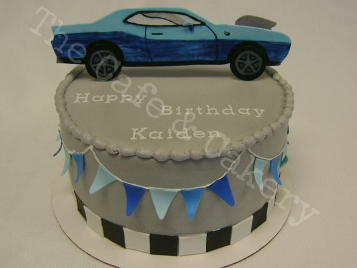 Muscle Car Racing Cake Grey Blue Checkered Flags Feel free
