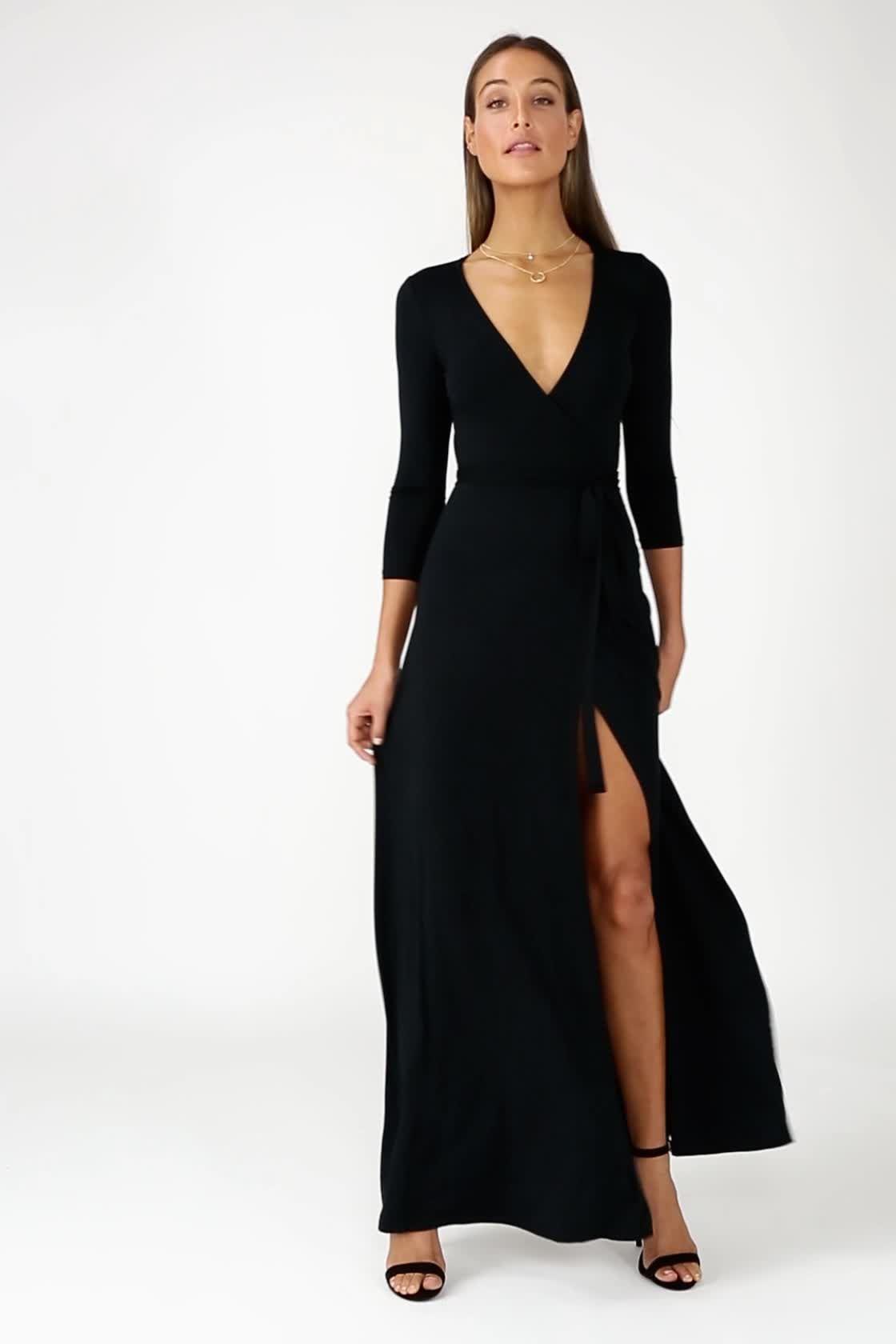 Garden District Black Wrap Maxi Dress Maxi Dress Maxi Dress With Sleeves Maxi Wrap Dress [ 1680 x 1120 Pixel ]