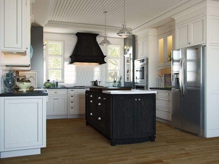 cucina-stile-inglese-isola-legno-nero | Arredamento nel 2019 ...