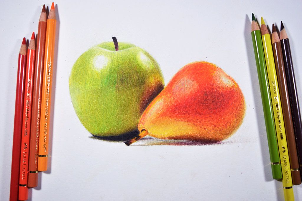 Drawing Fruits With Colored Pencils Is A Joy Especially When It