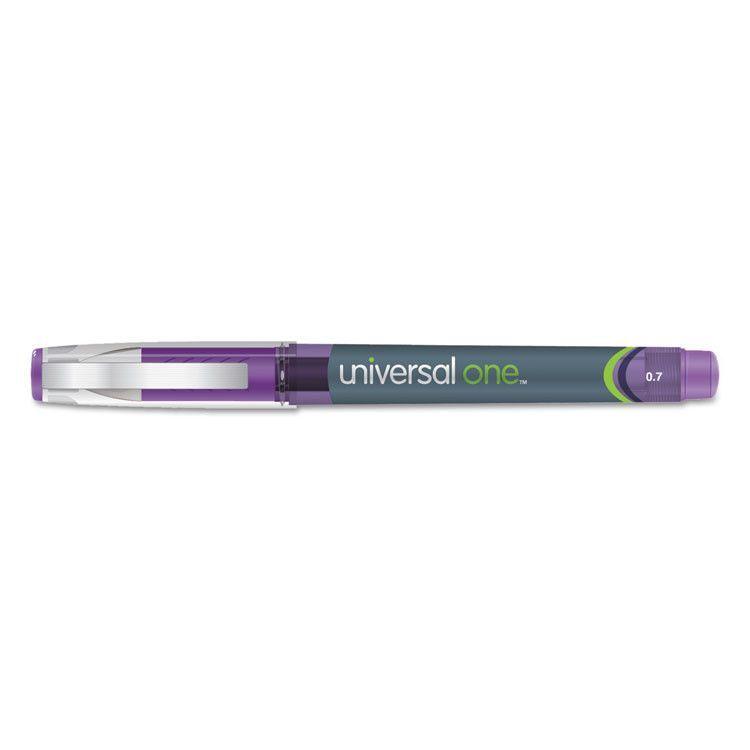High Capacity Roller Ball Stick Gel Pen, Purple Ink, Medium .7mm, Dozen
