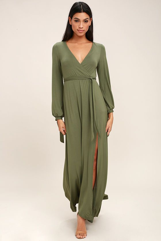Just The Thing Olive Green Long Sleeve Maxi Dress Best Maxi Dresses Long Sleeve Maxi Dress Olive Green Bridesmaid Dresses