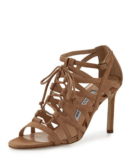 MANOLO BLAHNIK Vostra Strappy Suede Lace-Up Sandal. #manoloblahnik #shoes #flats