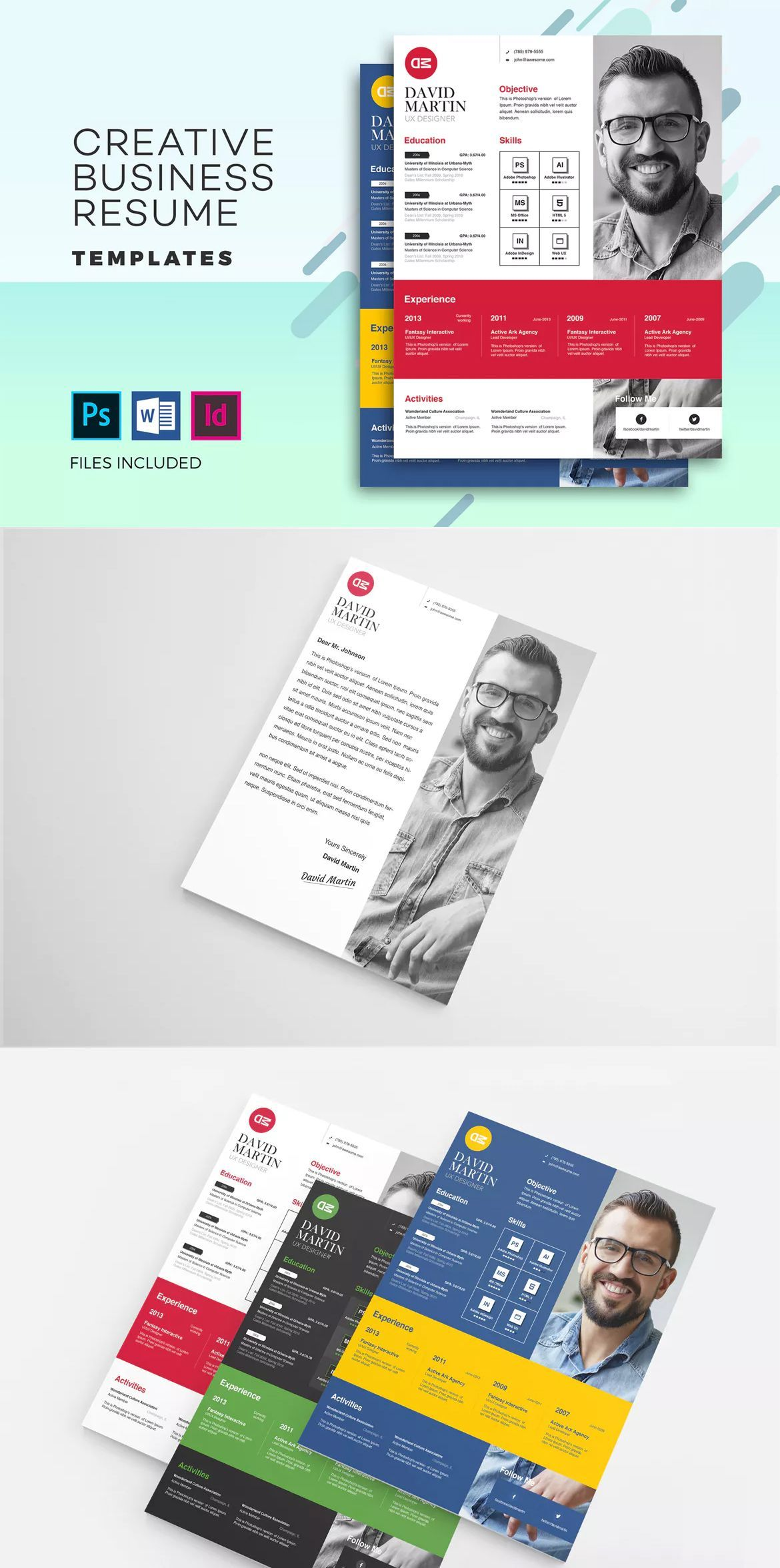 Business Resume & Cover Letter Template PSD, INDD & DOCX