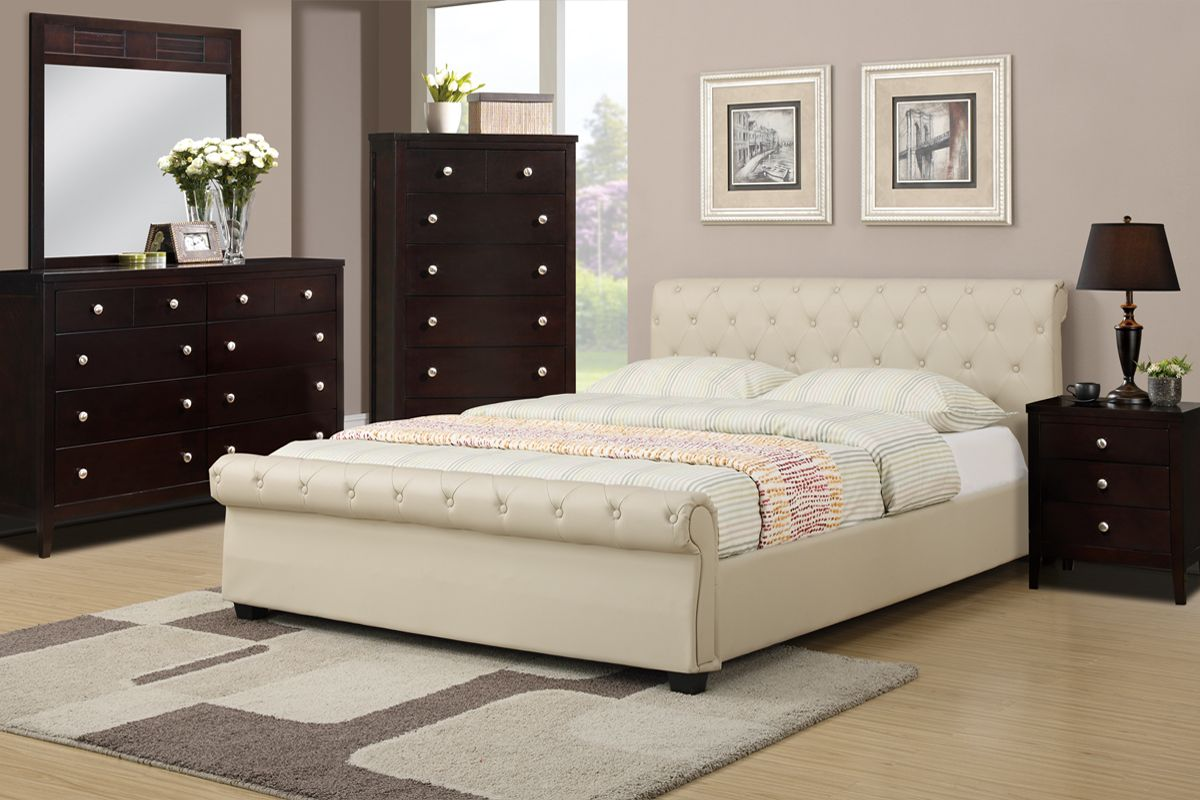 full or queen bed frame upholstered in hazelnut faux leather