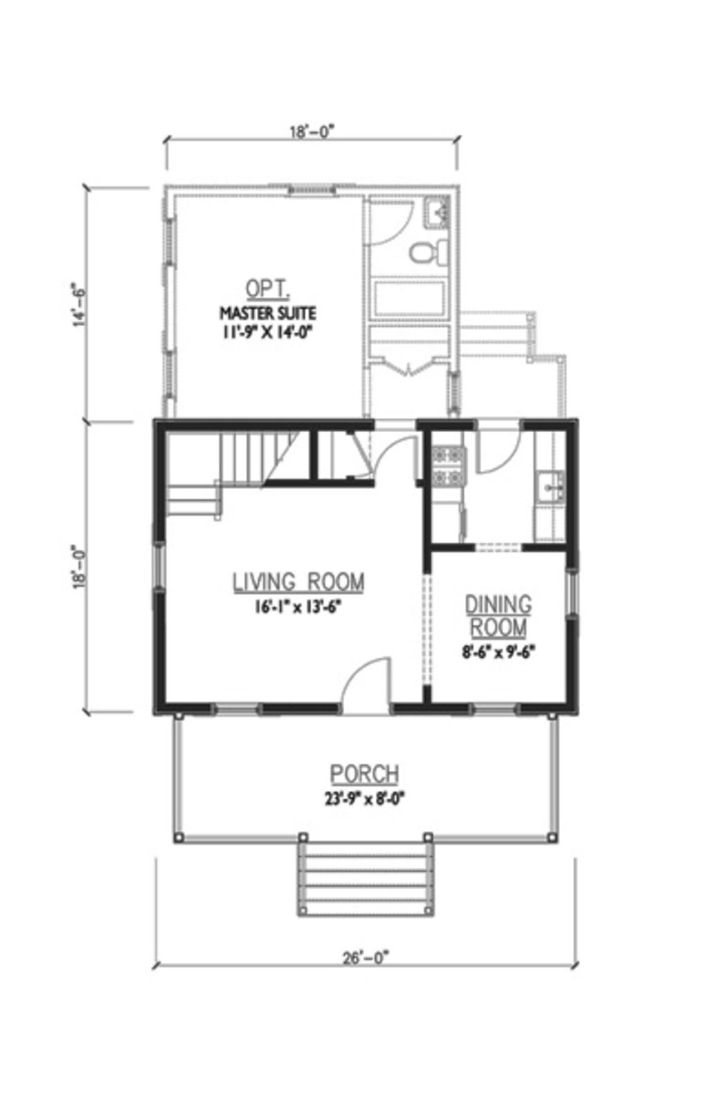 cute tiny house plan with two bedrooms a wrap around porch and a