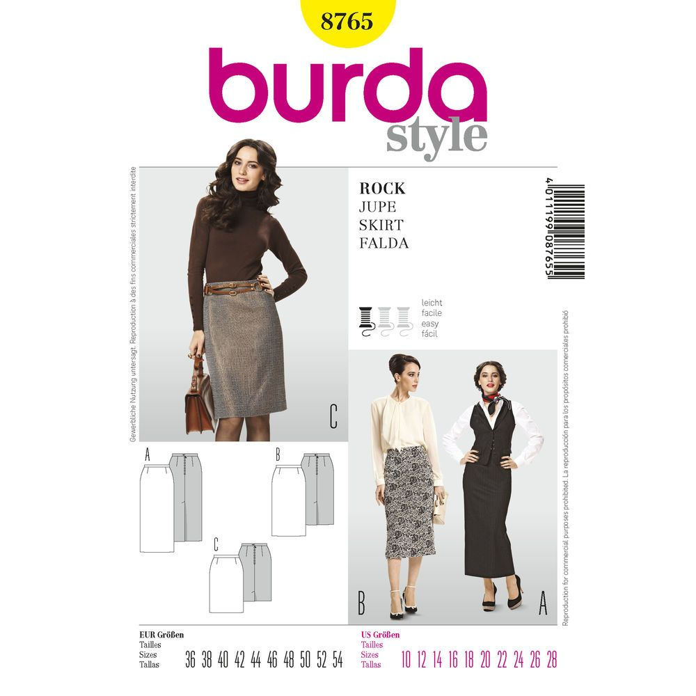 straight, narrow skirt with a one-sided concealed walking slit in three fashionable lengths.